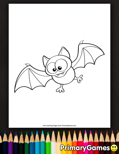 Cute Bat Coloring Pages  Cute Bat Coloring Page