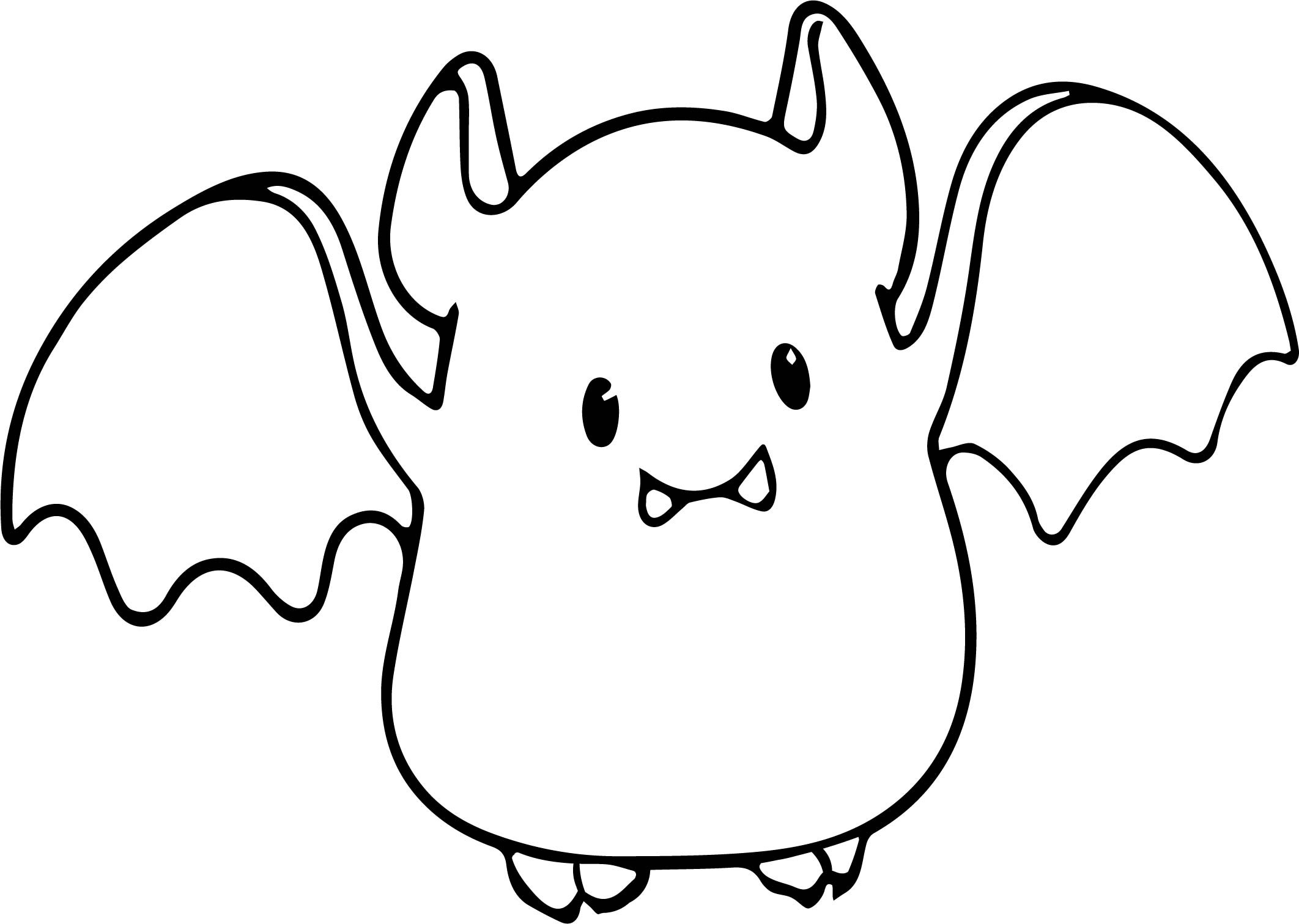 Cute Bat Coloring Pages  Small Cute Baby Cartoon Vampire Bat Coloring Page