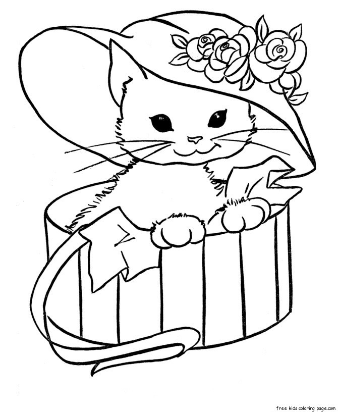 Cute Cat Coloring Pages  Cute Coloring Pages Animals AZ Coloring Pages