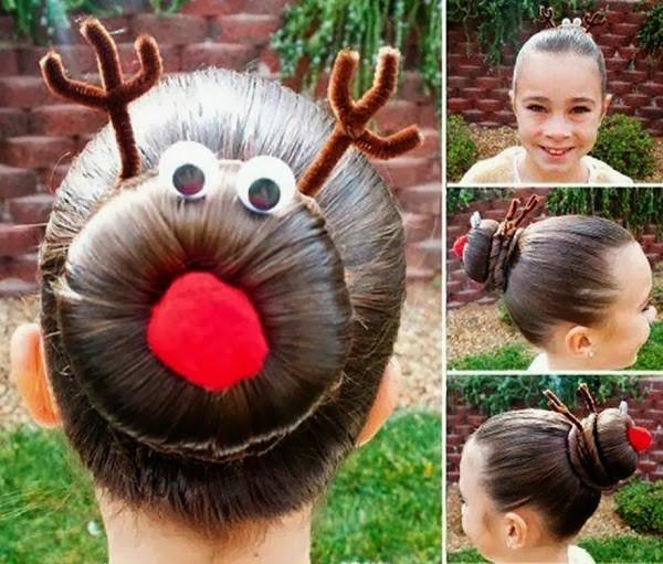Cute Christmas Hairstyles  Pretty Hairstyle for Christmas Rudolph Bun DIY AllDayChic