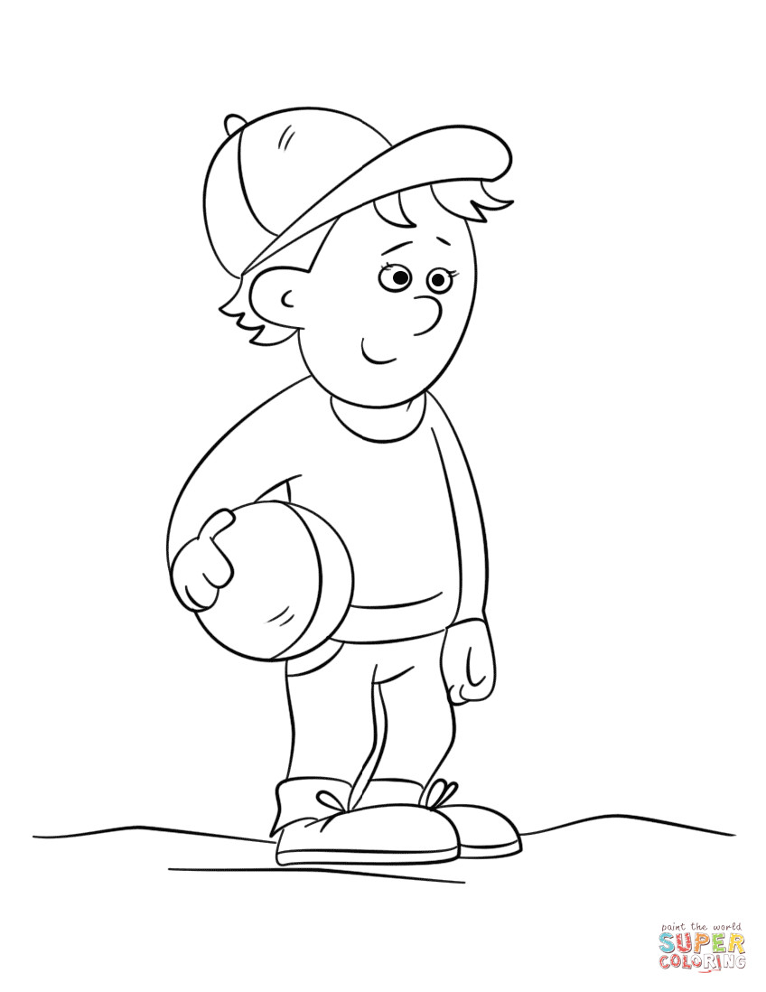 Cute Coloring Pages For Boys  Cute Boy Holding a Ball coloring page