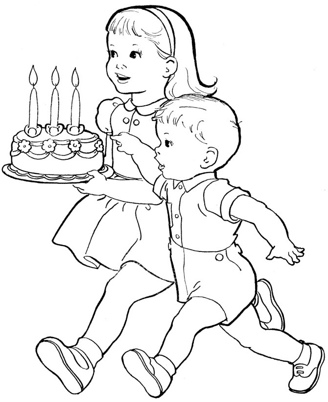 Cute Coloring Pages For Boys  cute baby boy birthday cake colouring page for kids