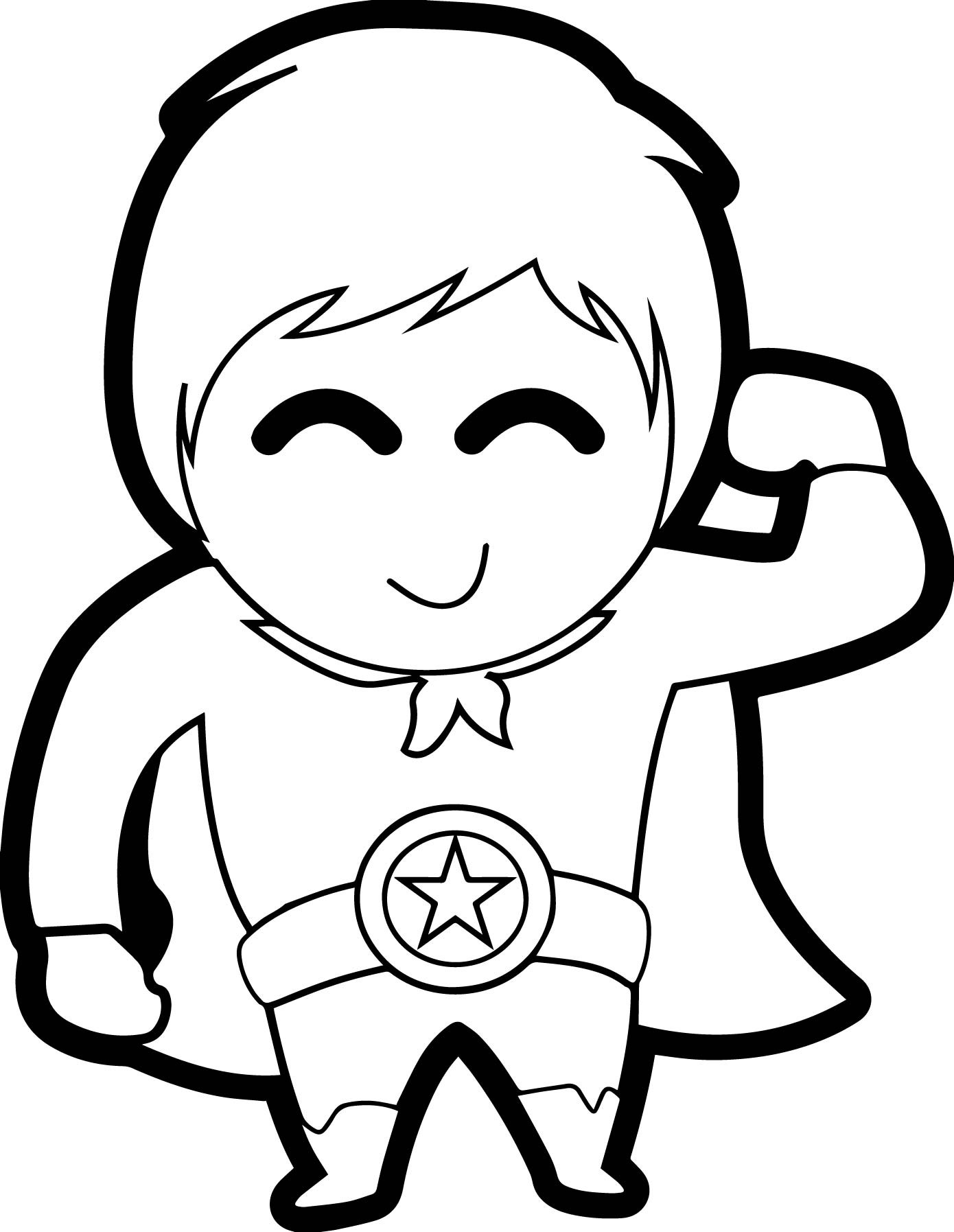 Cute Coloring Pages For Boys  Cute Boy Heroes Coloring Page