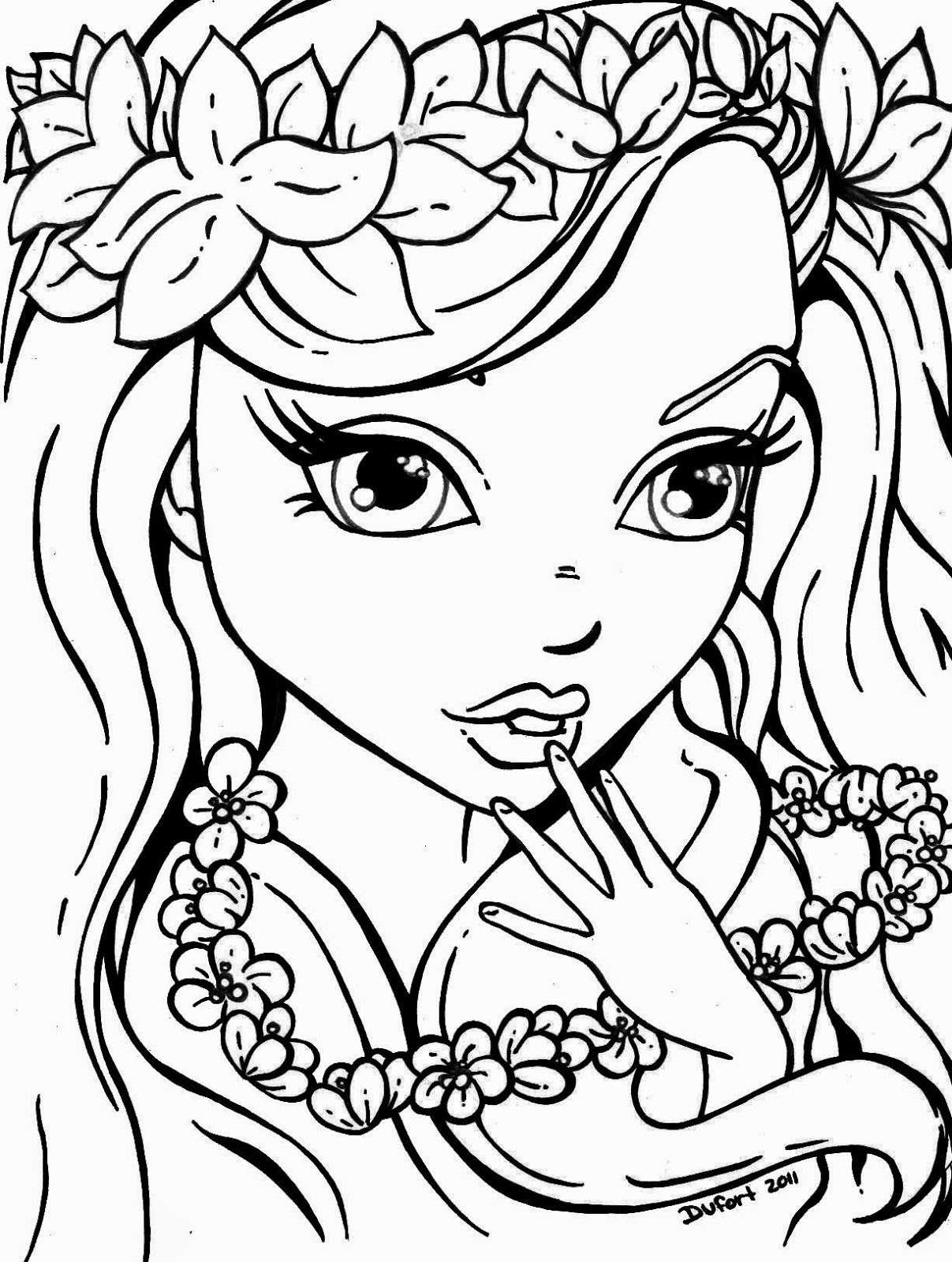 Cute Easy Coloring Pages For Girls  cute coloring sheets for girls