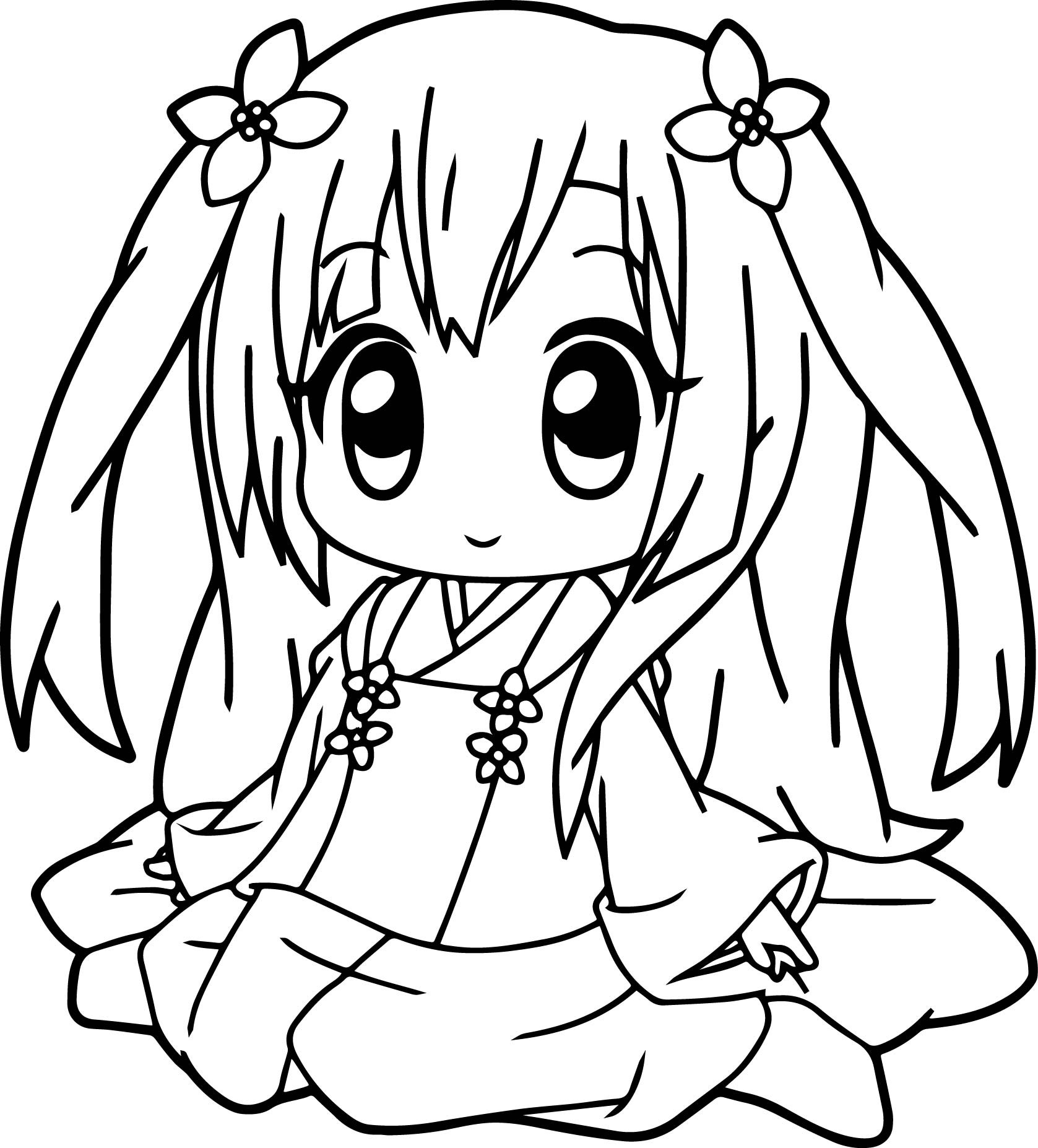 Cute Easy Coloring Pages For Girls  Anime Girl Coloring Pages coloringsuite