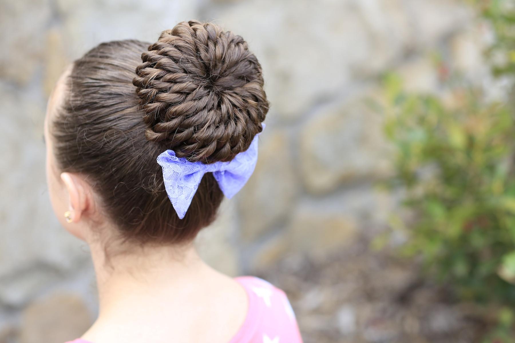 Cute Gymnastics Hairstyles  Rope Twist Pinwheel Bun Prom Hairstyles