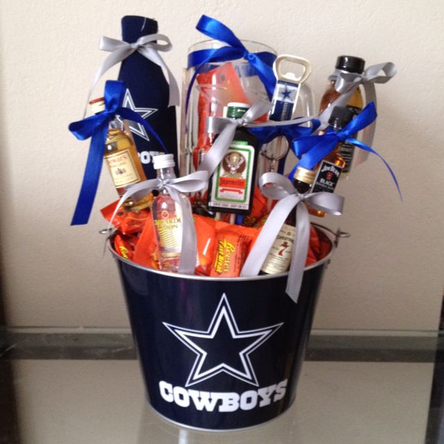 Dallas Cowboys Gift Ideas  Drink basket I made this for my husband for valentines