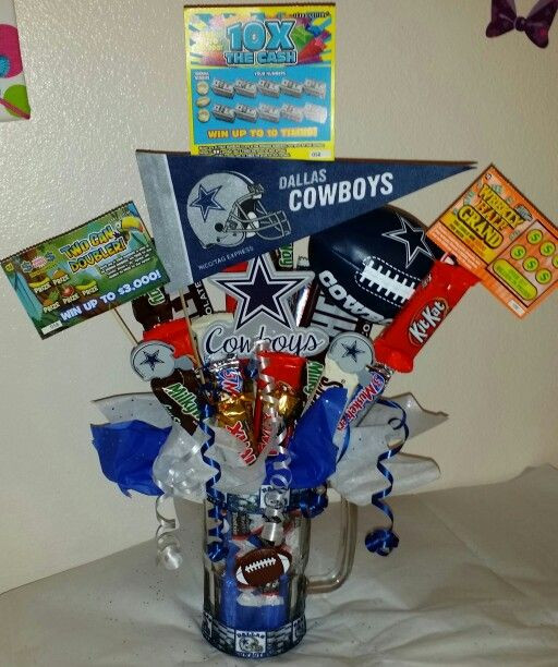 Dallas Cowboys Gift Ideas  Dallas Cowboys beer mug candy bouquet w lottery tickets