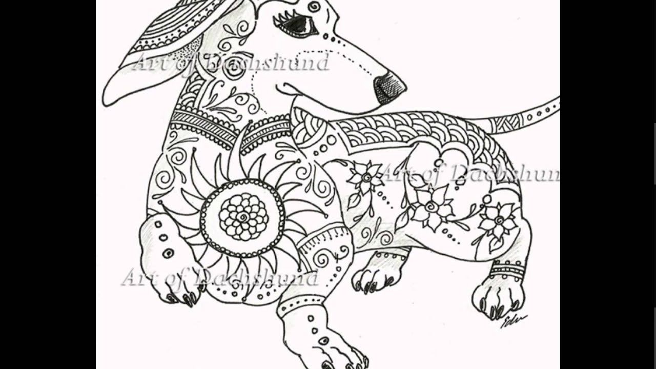 Daschund Coloring Book  Art of Dachshund Coloring Book