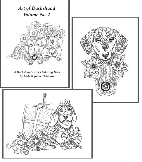Daschund Coloring Book  Art of Dachshund Coloring Book Volume No 2 Downloadable