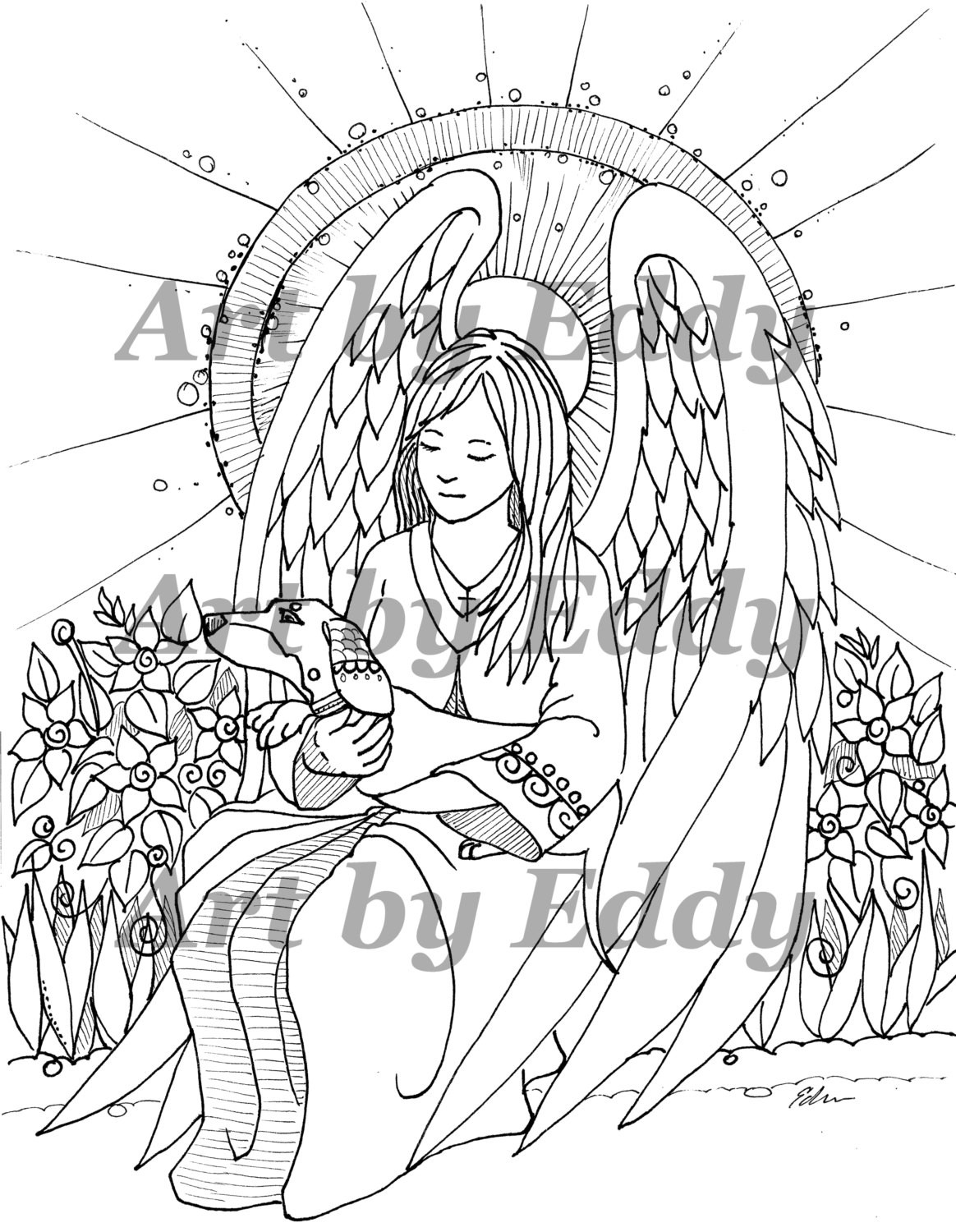 Daschund Coloring Book  Art of Dachshund Single Coloring Page Angel Doxie