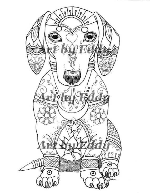 Daschund Coloring Book  Art of Dachshund Single Coloring Page