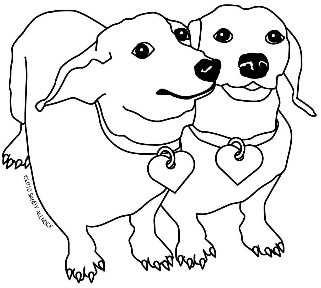 Daschund Coloring Book  Dachshund clipart coloring page Pencil and in color