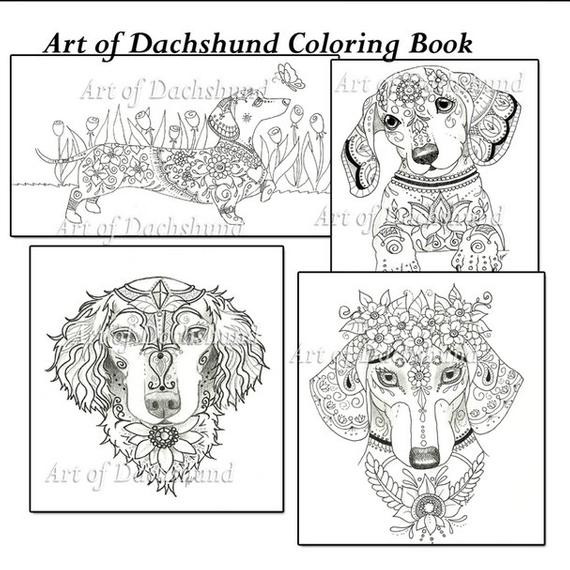 Daschund Coloring Book  Art of Dachshund Coloring Book Volume No 1 Downloadable