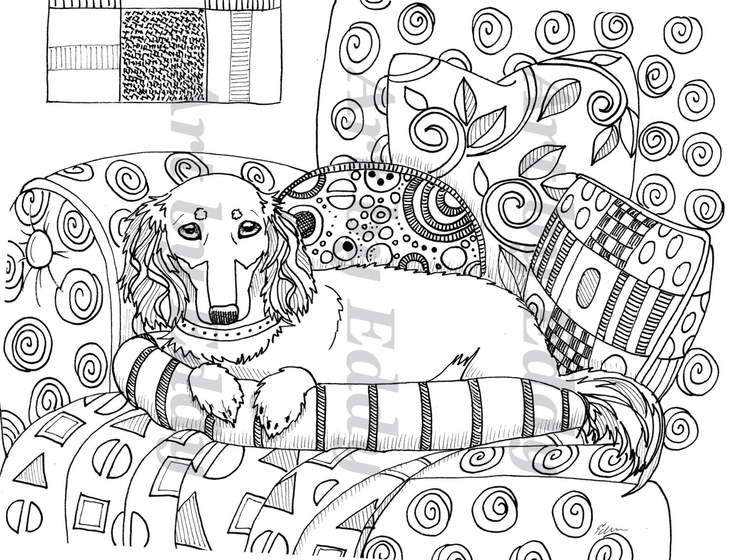 Daschund Coloring Book  Art of Dachshund Single Coloring Page Klimt Inspired Doxie