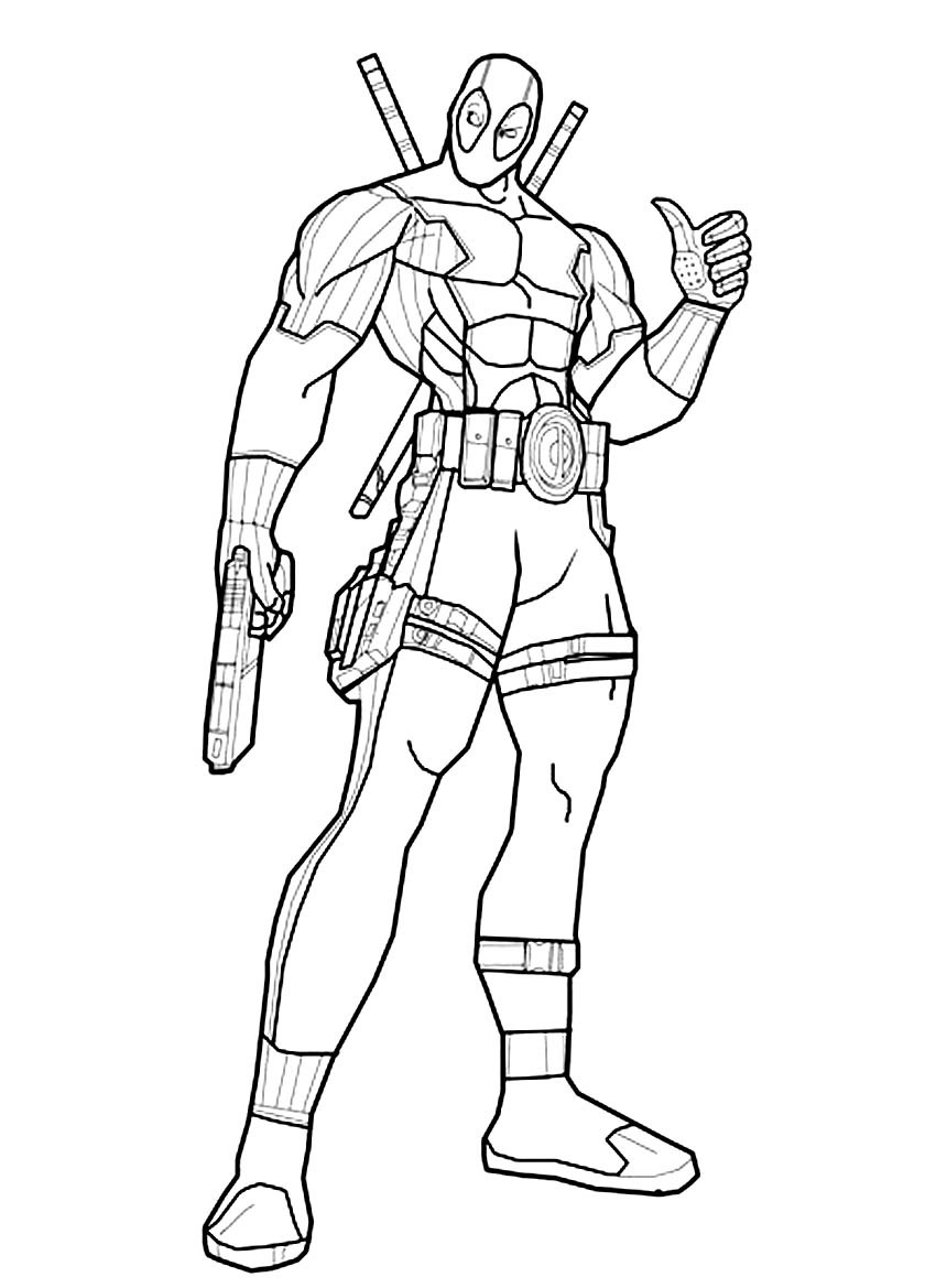 Deadpool Coloring Pages  Deadpool Superheroes – Printable coloring pages