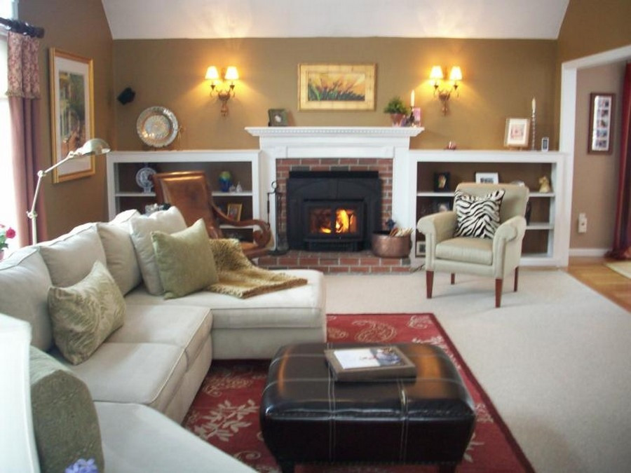 Best ideas about Decor Ideas For Family Room . Save or Pin Warm Ideas For Small Family Room With Wood Stove And Red Now.