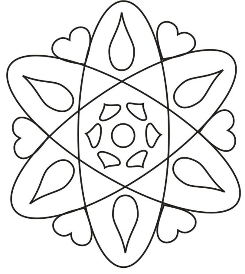 Design Coloring Pages For Kids  Rangoli design coloring printable Page for kids 4