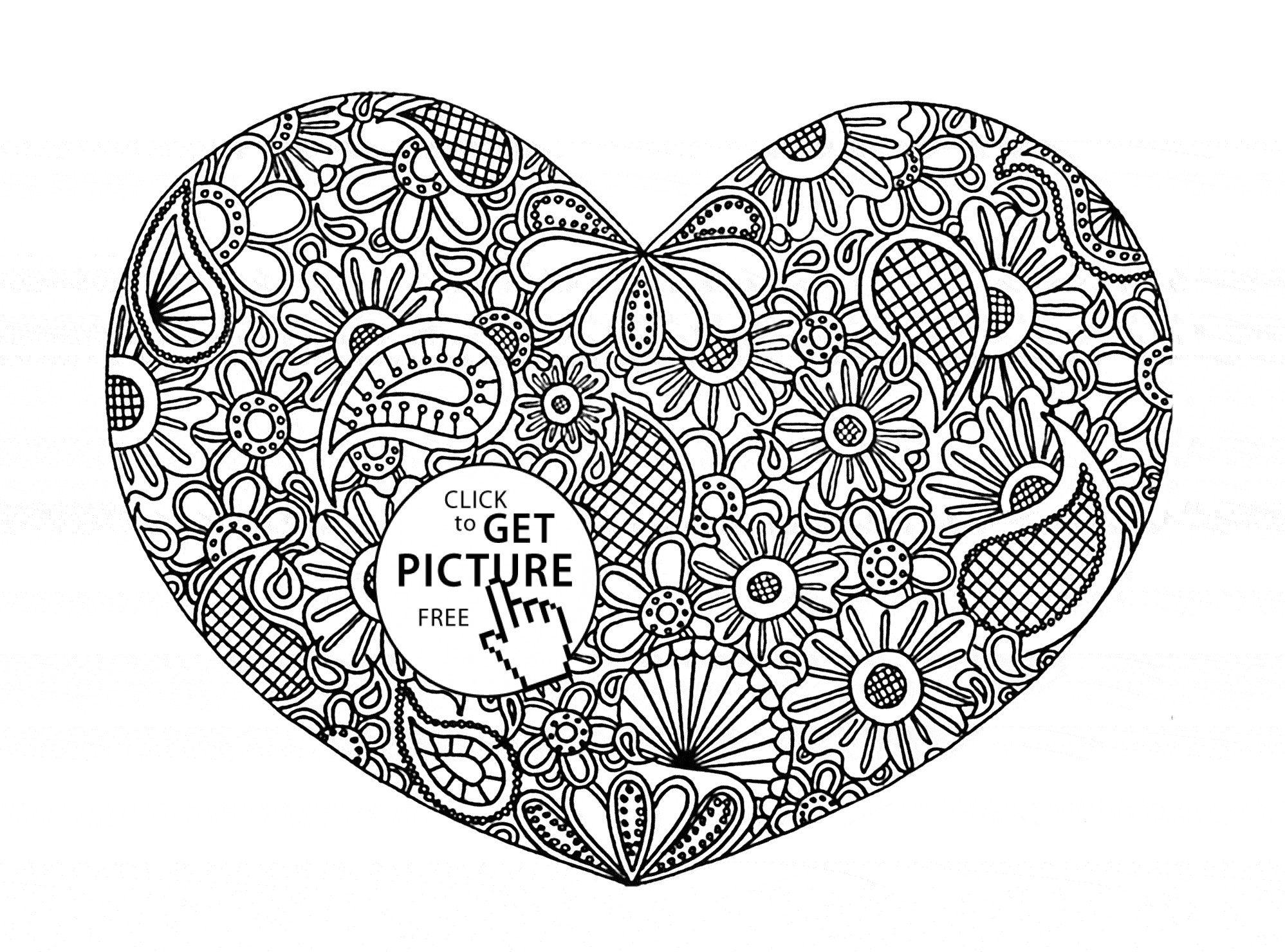 Design Coloring Sheets For Girls  Hearts Coloring Pages for Teenagers Free