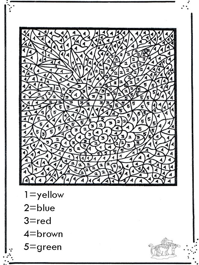 Difficult Color By Number Coloring Pages For Adults  Free Printable Paint By Numbers For Adults Coloring Home