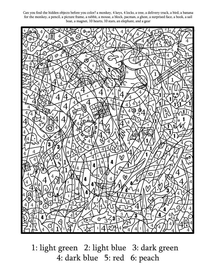 Difficult Color By Number Coloring Pages For Adults  Difficult Color By Number Printables Coloring Home