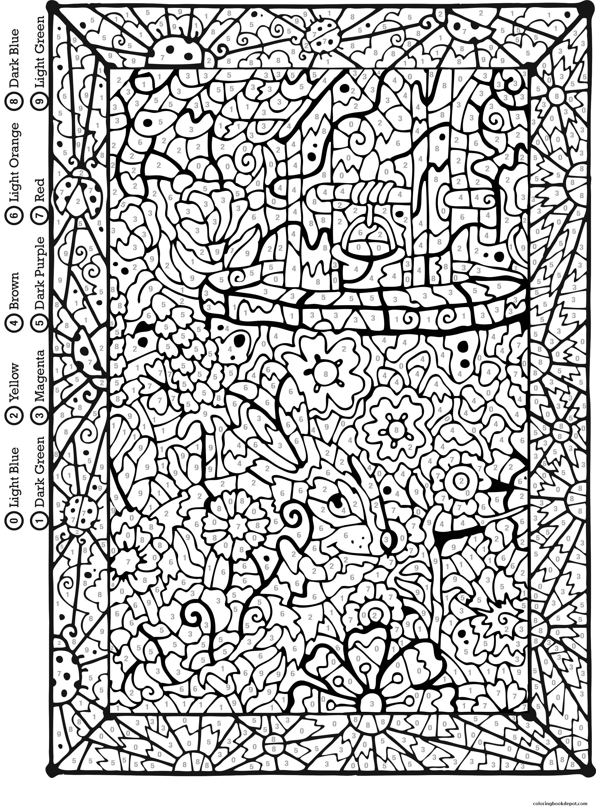 Difficult Color By Number Coloring Pages For Adults  free color by number for adults very difficult coloring pages