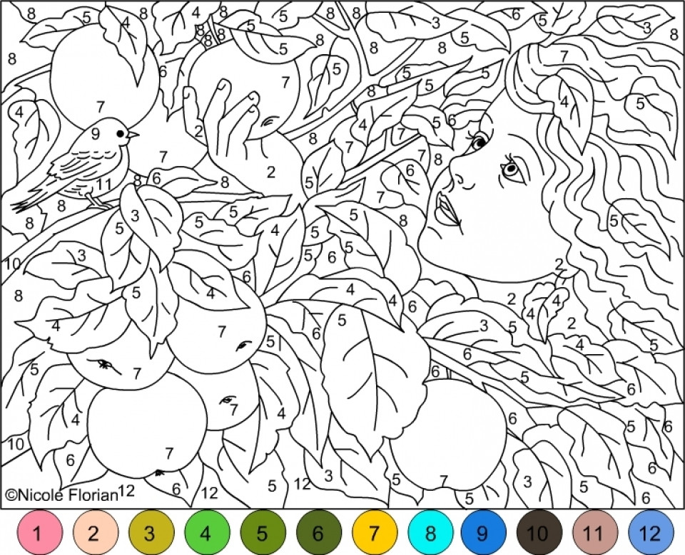 Difficult Color By Number Coloring Pages For Adults  Get This Difficult Color by Number Pages for Grown Ups HL82T