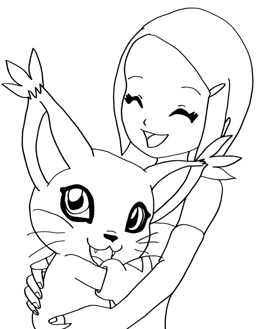 Digimon Coloring Pages  kari and her digimon by elfkena on DeviantArt