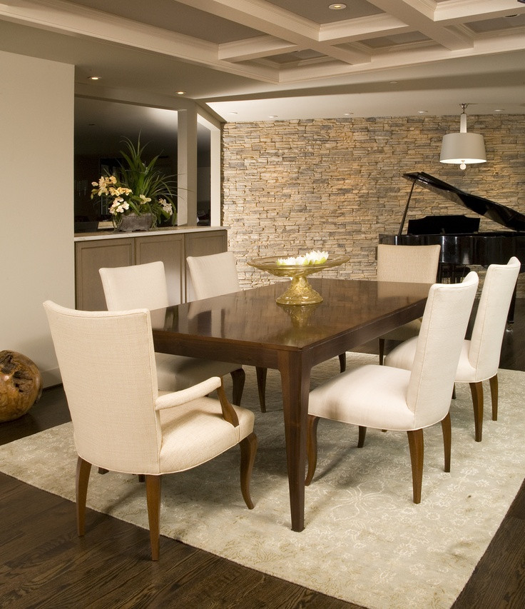 Best ideas about Dining Room Accent Walls . Save or Pin Modern dining room with clean lines and neutral stone wall Now.
