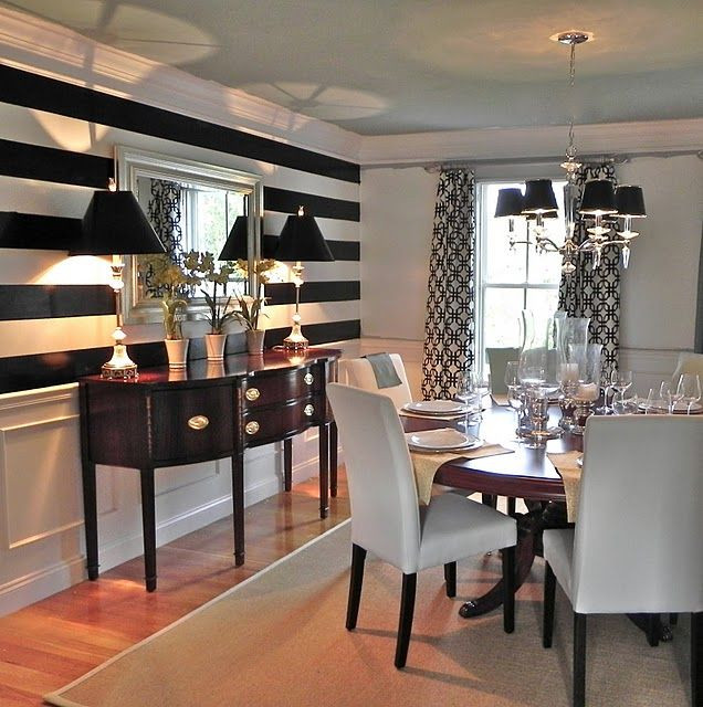 Best ideas about Dining Room Accent Walls . Save or Pin Dining room accent wall 11 in black and white stripes Now.