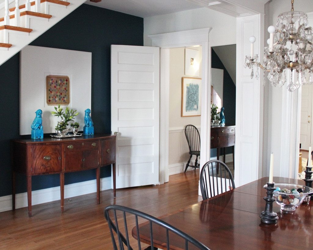 Best ideas about Dining Room Accent Walls . Save or Pin Navy Blue Accent Wall Now.