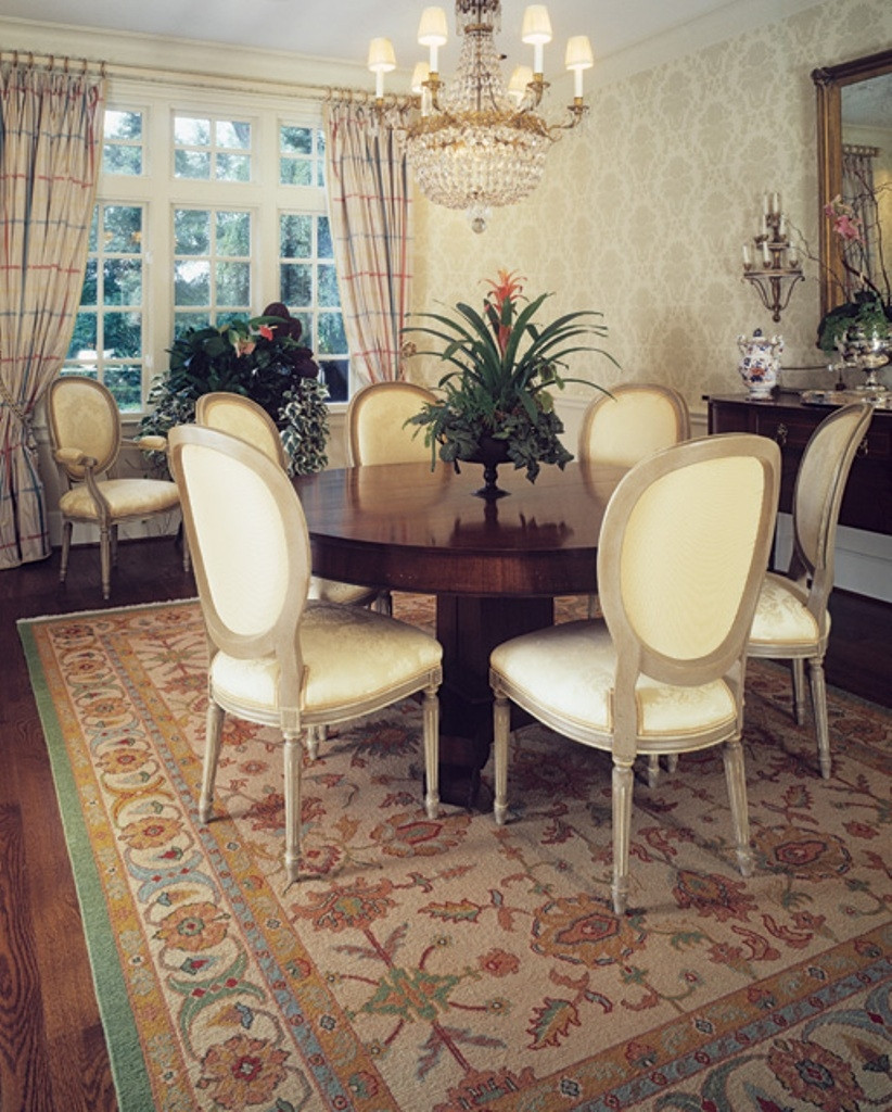 Best ideas about Dining Room Rug Size . Save or Pin Oriental Rug Ideas And Design With Round Backed Chairs For Now.