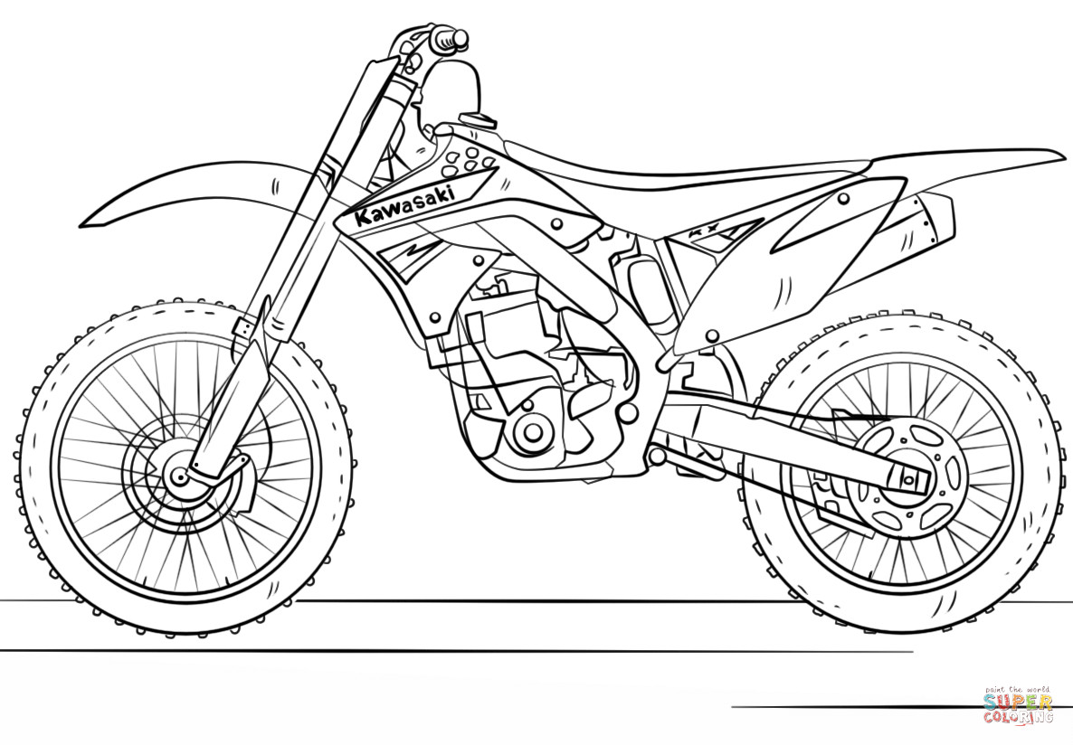 Dirtbike Coloring Pages  Kawasaki Motocross Bike coloring page