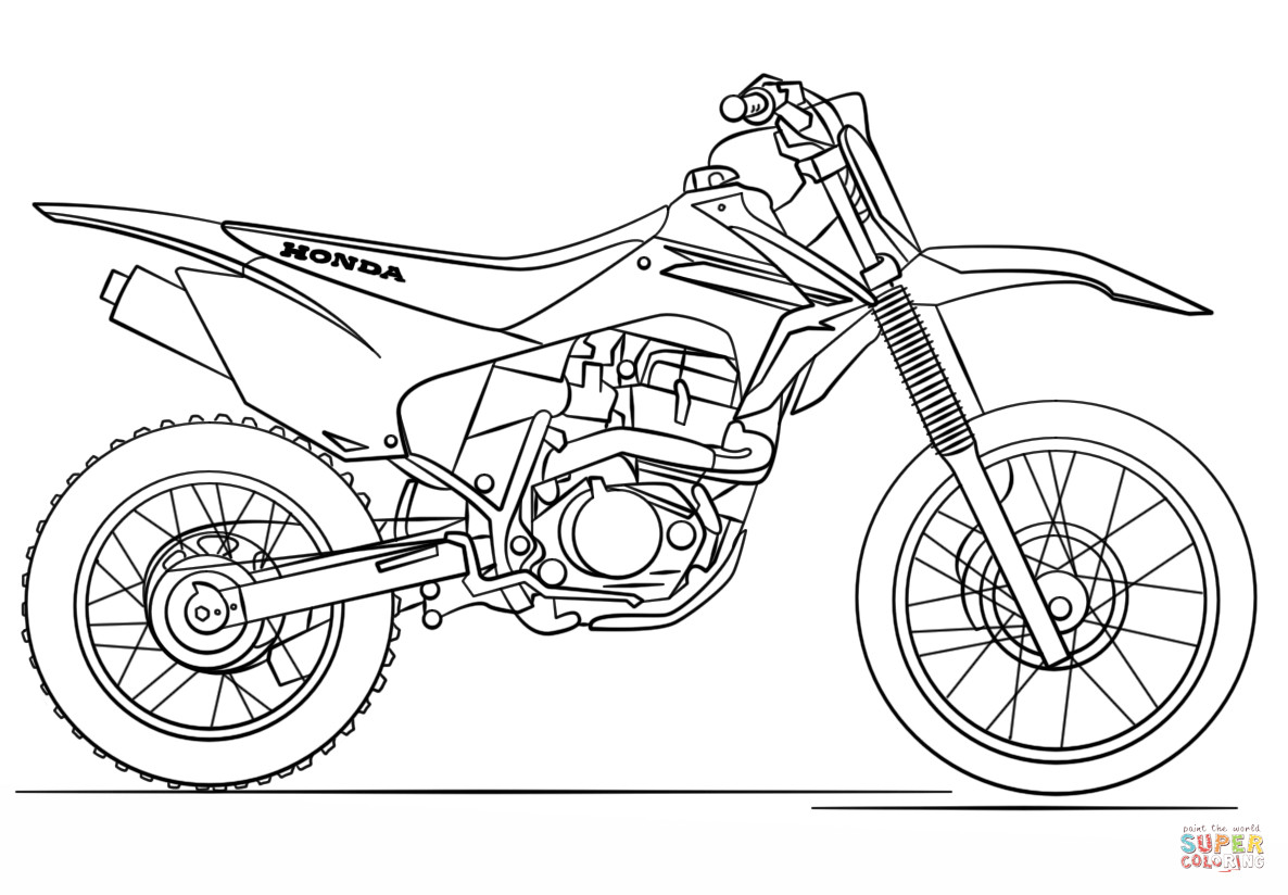 Dirtbike Coloring Pages  Honda Dirt Bike coloring page