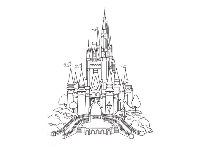 Disney Castle Coloring Pages  CINDERELLA'S CASTLE COLORING Free Coloring Pages