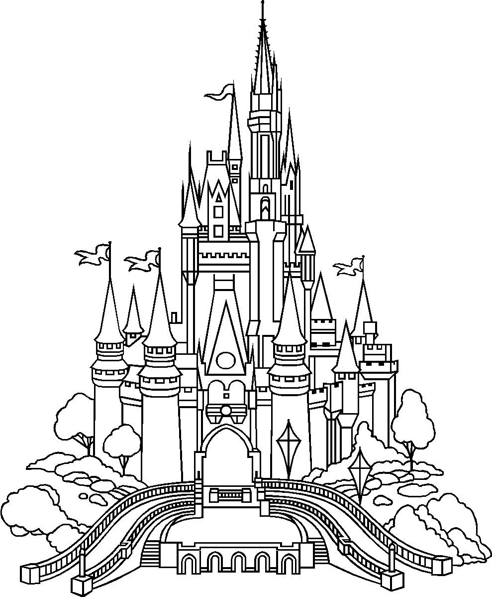 Disney Castle Coloring Pages  Castle of Disney World Line Drawing