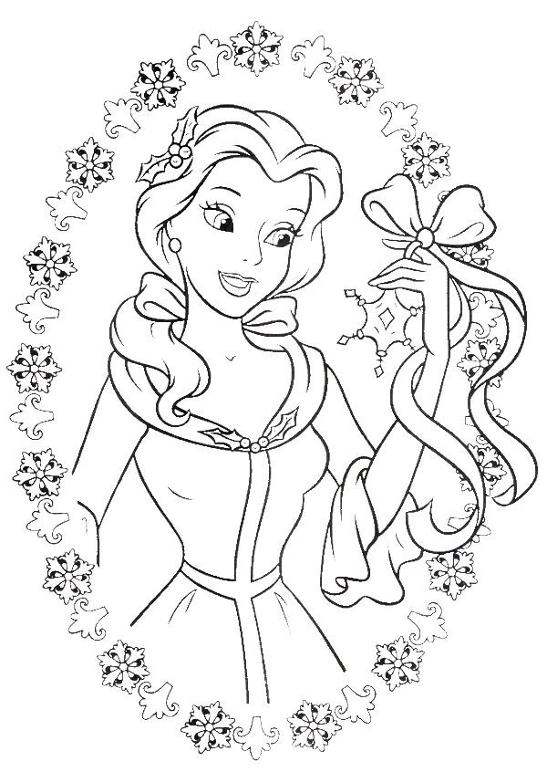 Disney Christmas Coloring Pages For Girls  Easy Coloring Pages for Kids of Beaituful Princess Belle