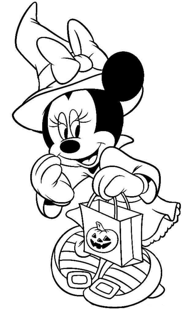 Disney Halloween Coloring Pages For Kids  Disney Halloween Minnie Coloring Sheet for Kids Picture 7