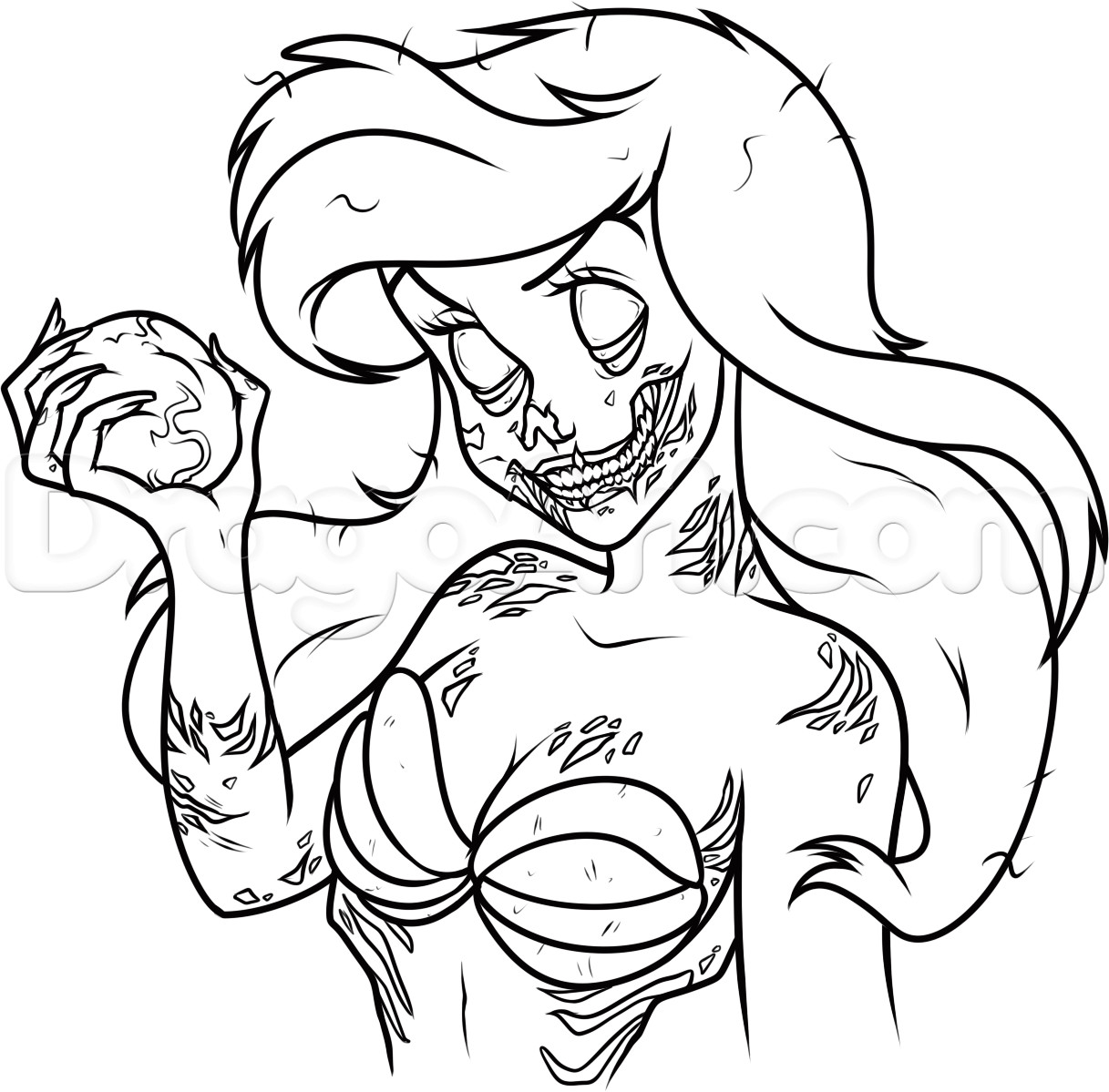 Disney Zombies Coloring Pages  How to Draw Zombie Ariel Step by Step Zombies Monsters