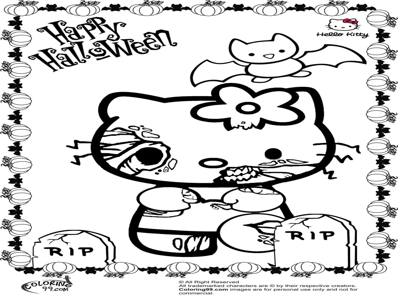 Disney Zombies Coloring Pages  Disney Zombie Coloring Kitty Halloween Pages grig3