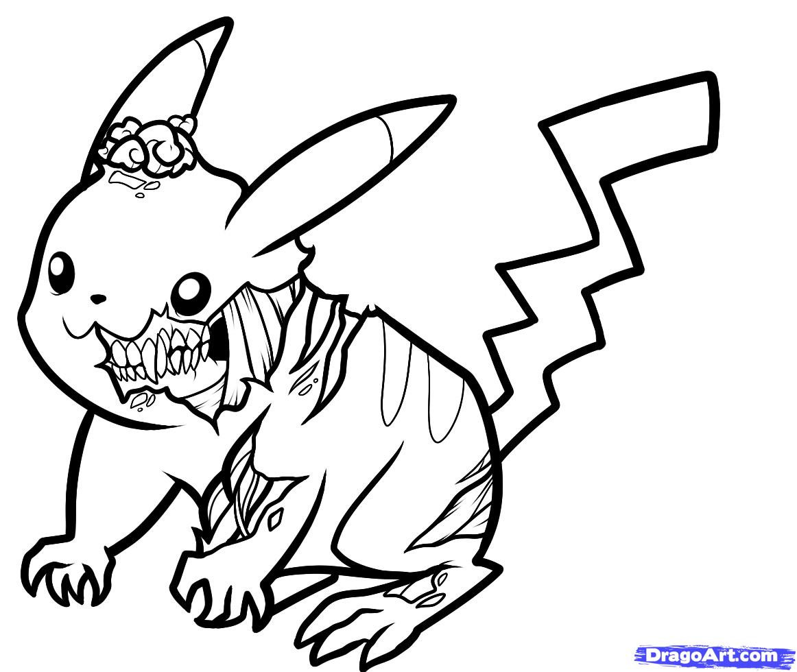 Disney Zombies Coloring Pages  How to Draw Zombie Pikachu Zombie Pikachu Step by Step