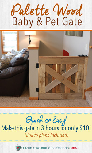 Best ideas about DIY Baby Gate Plans . Save or Pin DIY Palette Wood Baby & Pet Gate I Think We Could Be Friends Now.