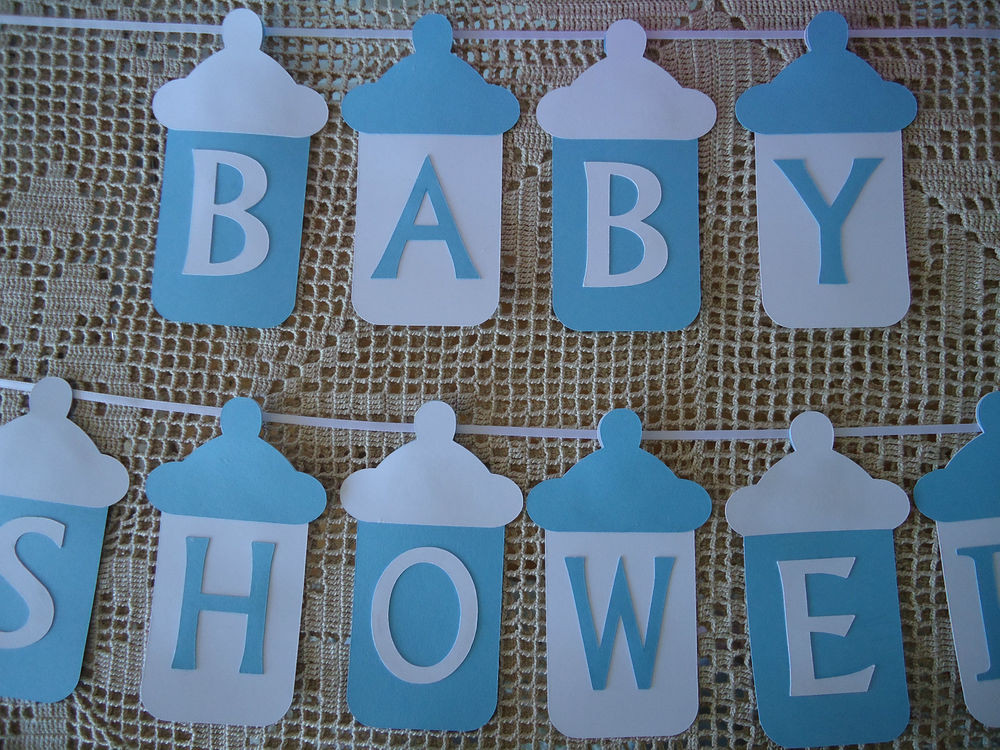 DIY Baby Shower Banners  BABY SHOWER Bunting Banner Flags Garland Blue White Baby