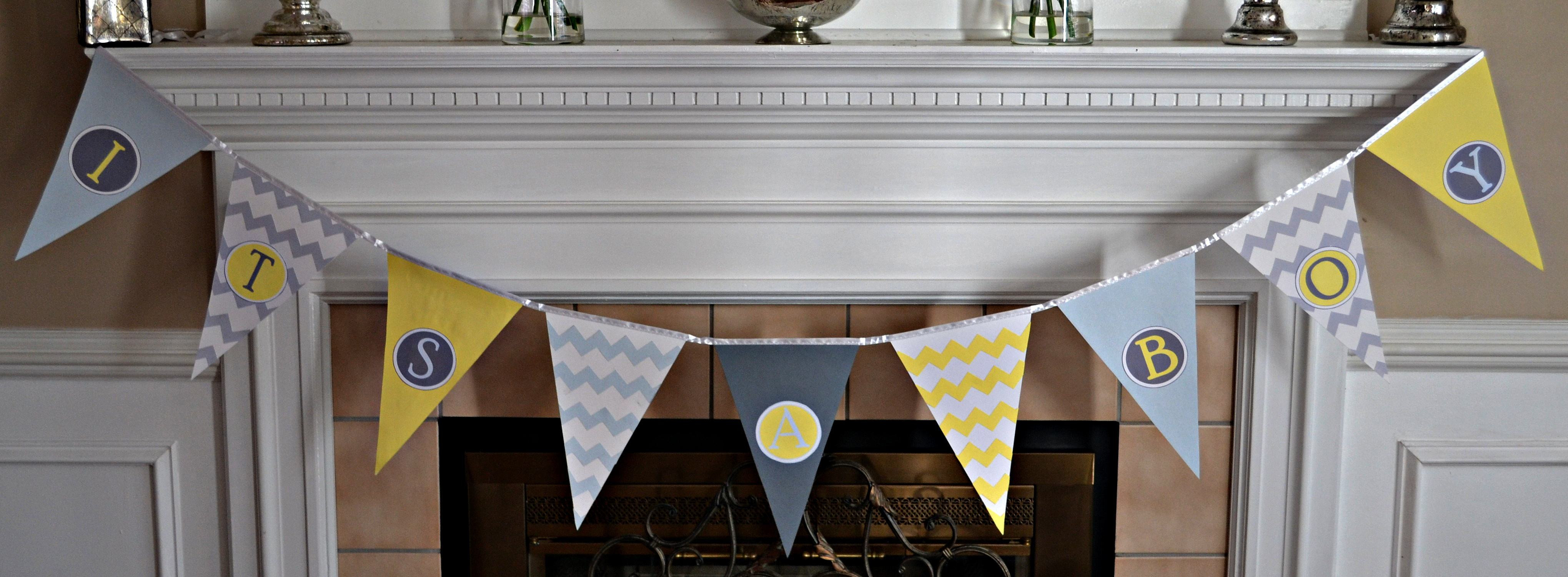 DIY Baby Shower Banners  Baby Shower Pennant Banner Tutorial