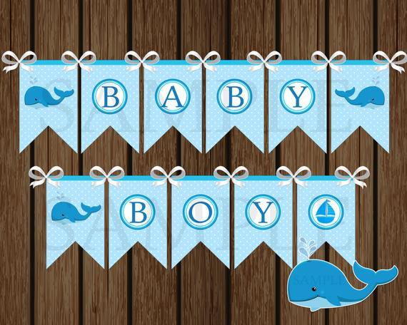 DIY Baby Shower Banners  Baby Boy Whale Banner DIY Whale Baby Shower Banner Shower