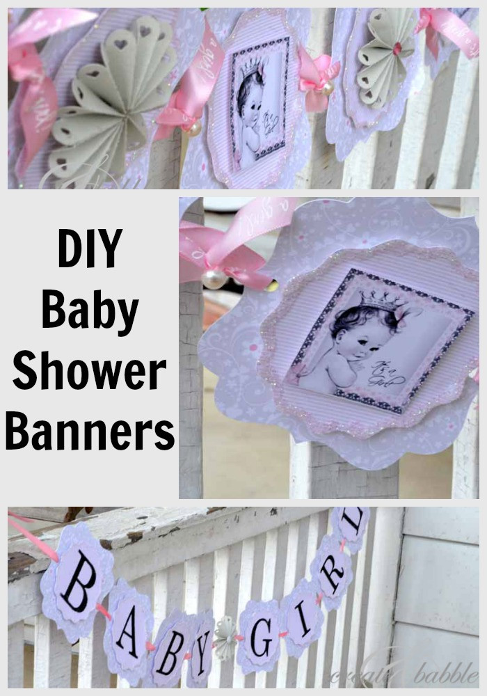 DIY Baby Shower Banners  Baby Girl Shower Decorations DIY Style Create and Babble