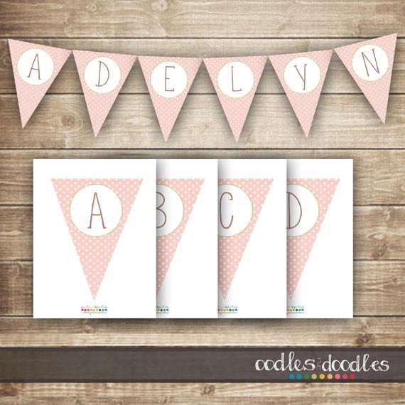 DIY Baby Shower Banners  Pink & Green Polka Dots Pennant Banner diy Bunting