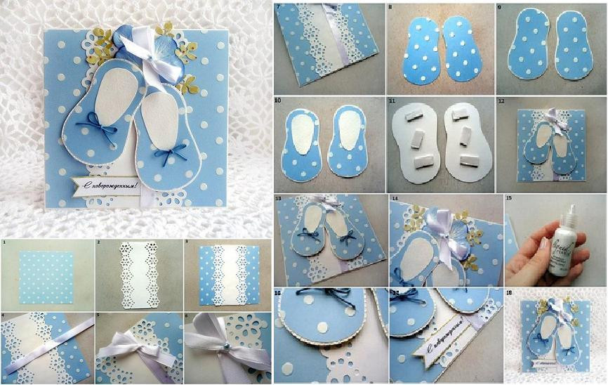 Best ideas about DIY Baby Shower Cards . Save or Pin DIY Cute Baby Shoes Themed Card Now.