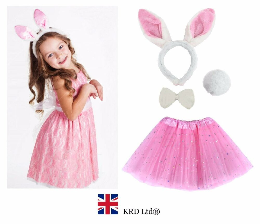 DIY Bunny Costume Toddler  Kids EASTER BUNNY Fancy Dress Costume Pink TUTU EARS TAIL