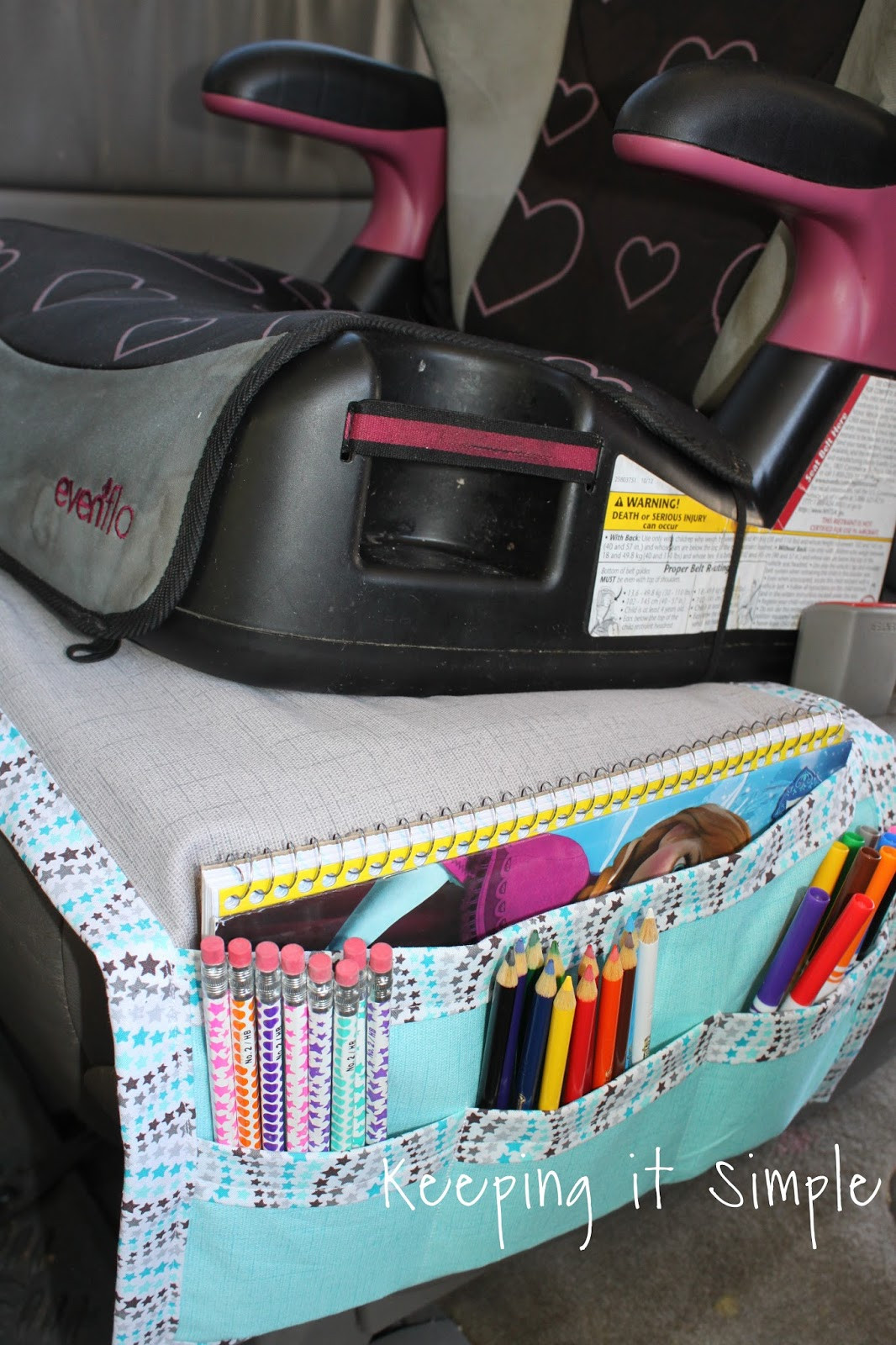 DIY Car Organizer  Keeping it Simple DIY Car Seat Organizer for Kids Snacks